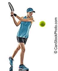 tennis, frau, silhouette, freigestellt