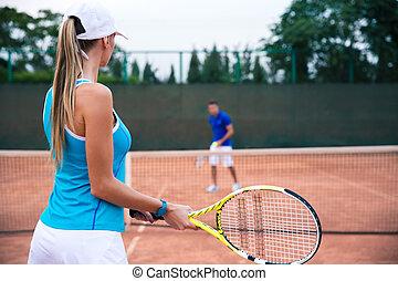 tennis, frau, spielende , mann, draußen