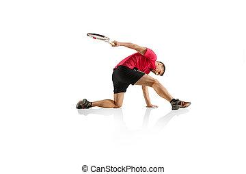 tennis, freigestellt, eins, spieler, hintergrund, weißes, spielende , kaukasier, mann