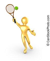 tennis, freigestellt, hintergrund, weißes, spielende , mann