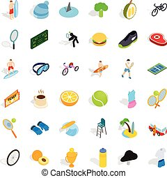Tennis game icons set, isometric style
