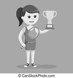 Tennis girl with trophy