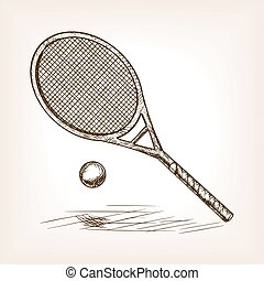 Tennis hand drawn sketch style vector