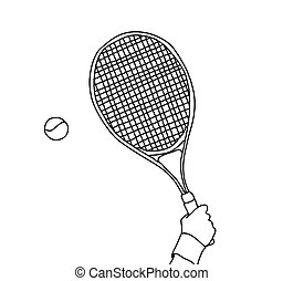 Tennis hand with racket line black and white
