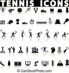 tennis, icônes, ensemble