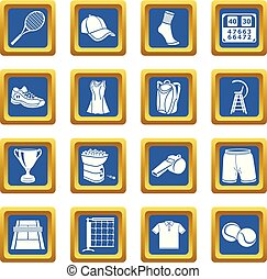 Tennis icons set blue square vector