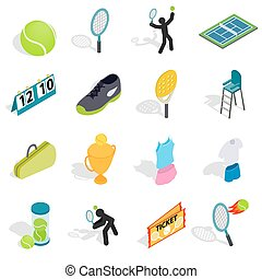 Tennis icons set in isometric 3d style