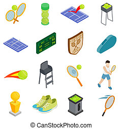 Tennis icons set, isometric 3d style