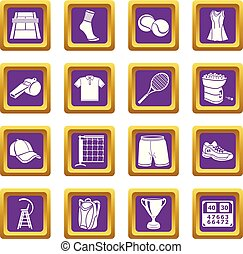 Tennis icons set purple square vector
