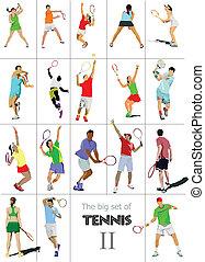 tennis, illu, vektor, player., gefärbt