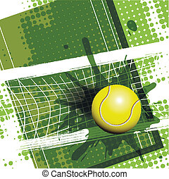 Tennis - illustration tennis ball on abstract green...