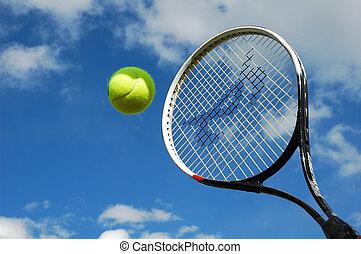 tennis in mid flight