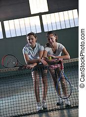 tennis, innen, mädels, junger, spiel, spielende