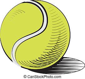 tennis, isolato, palla, white.