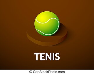 Tennis isometric icon, isolated on color background