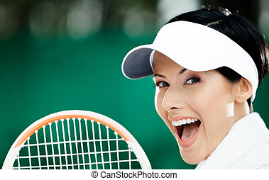 tennis, jeune, haut, joueur, femme, fin