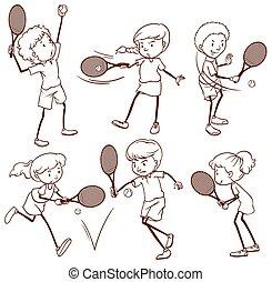 tennis, jouer, gosses