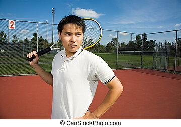 tennis, jouer, homme, asiatique