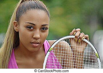 tennis, jugend, spieler, latina, m�dchen, leidenschaftslos