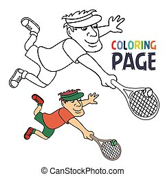 tennis, karikatur, färbung, seite, spieler