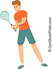 tennis, karikatur, ikone, amateur, stil