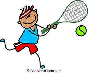 little ethnic boy playing tennis - toddler art series
