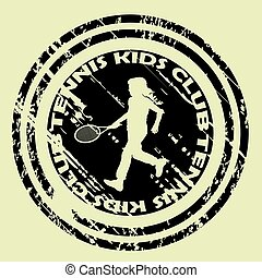Tennis kids club icon with girl silhouette
