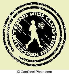 Tennis kids club with boy silhouette