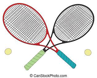 tennis, knoop, rivalen, rackets
