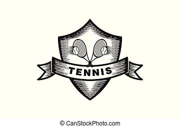tennis label badge logo design