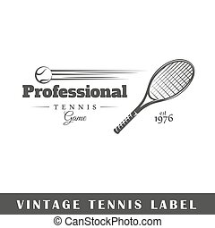 Tennis label isolated on white background