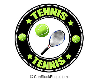 Tennis label, vector illustration