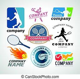 Vector illustrated set of various tennis logo design elements