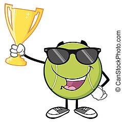 tennis, lunettes soleil, balle, heureux
