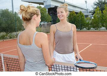 tennis, mädels, spielende