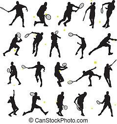 tennis, maniertjes, silhouette, 20
