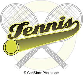 tennis, met, staart, spandoek