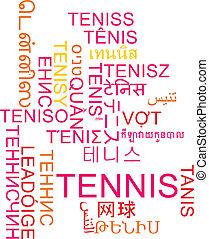 tennis, multilanguage, wordcloud, fondo, concetto