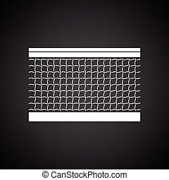 Tennis net icon. Black background with white. Vector...