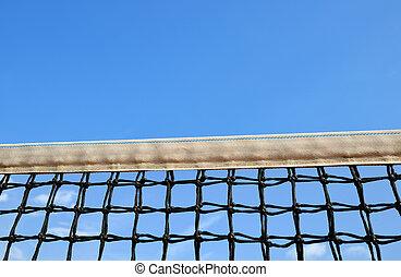 Tennis net on blue sky