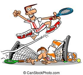 Tennis net.WBG. - Tennis winner and loser;on white...