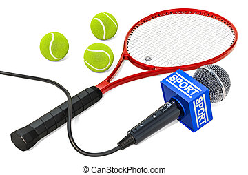Tennis News concept. Microphone sport news with tennis ball and racket, 3D rendering