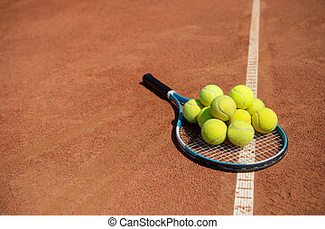 Tennis outfit is waiting for players outdoor