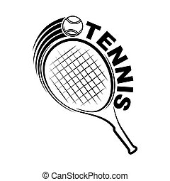 Tennis outline silhouette with racket