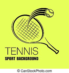 Tennis outline yellow silhouette background