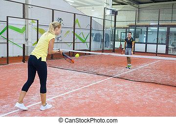 tennis, paar, innen, spiel, spielende