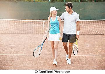 tennis, paar, volle länge, bild