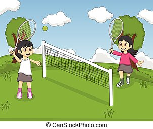 tennis, parco, gioco, bambini