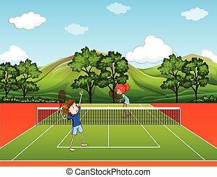 tennis, park, spelend, geitjes