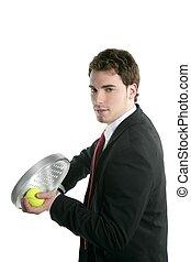 tennis, peddel, zakenman, vasthouden, kostuum, racket, vastknopen